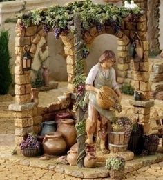 Amazon.com: 7.5 Inch Scale Fontanini 11.5 Inch High Wine Makers Shop 50825: Home & Kitchen Christmas Nativity Scene, Christmas Scenes, Christmas Villages, Christmas In Italy, Christmas Carol, Christmas Time, Village Miniature, Miniature Houses, Fontanini Nativity