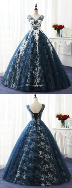Navy blue tulle V neckling long winter formal prom dress, long lace appliques evening dress, Shop plus-sized prom dresses for curvy figures and plus-size party dresses. Ball gowns for prom in plus sizes and short plus-sized prom dresses for Lace Evening Dresses, Lace Dress, Prom Dresses, Formal Dresses, Formal Prom, Dress Long, Long Gowns, Wedding Dresses, Tulle Dress