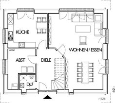 Landhaus Grundriss Erdgeschoss mit 80,66 m²