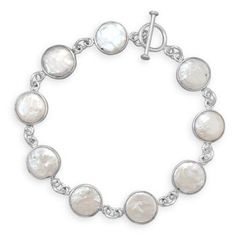 Cultured Freshwater Coin Pearl Toggle Bracelet