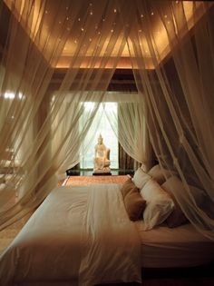 Taupe Asian-Inspired Canopy Bed