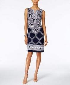 JM Collection Printed Split-Neck Sheath Dress, Only at Macy's | macys.com