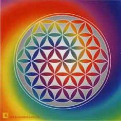 Flower of Life Source by Yoga Studio Design, Yoga Inspiration, Corps Éthérique, Flower Of Life Pattern, Life Flower, Rainbow Connection, Ancient Mysteries, Blue Area, Illustrations And Posters