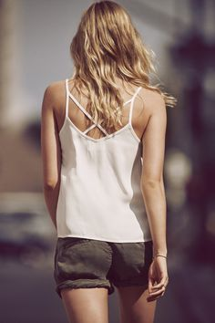 A&F Essentials: Updated collection of your favorite wear-everywhere tees & tanks. // The Strappy Woven Cami