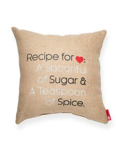 Recipe for Love Burlap Pillow
