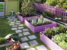 like how they painted garden boxes  also love pavers in grass ... hmmmm