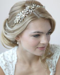 Romantic Pearl, Crystal and Rhinestone Side Accent Bridal Headband, style - headband hairstyles wedding,headband hairstyles wedding guest,leaf headband wedding hairstyles Wedding Headband, Bridal Crown, Bridal Tiara, Bridal Headpieces, Pearl Bridal, Bride Headband, Rhinestone Wedding, Gold Wedding, Gold Rhinestone
