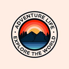Colorful adventure mountain badge logo P. Logo Esport, Badge Logo, Logo Branding, Logo Sticker, Sticker Design, Logo Velo, Logo Rond, Outdoor Logos, Circle Logos
