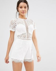 Image 1 ofMissguided Lace Short Sleeve Playsuit
