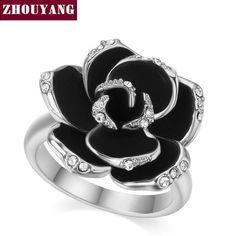 Crystal Rose Silver Ring & Austrian Crystals