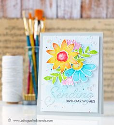 Papertrey Ink Customer Blog Hop. Painted Petals stamp set. Card by Wanda Guess.