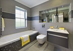 Bath and Shower Room Design Ideas, Renovations & Photos with Grey Tiles, White Tiles and Grey Walls Bathroom Photos, Small Bathroom, Master Bathroom, Bathroom Ideas, Bathroom Inspiration, Bathroom Interior, Interior Design Living Room, Gray Interior, Bathroom Renovations Sydney