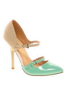 Nude + mint heels