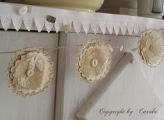 Sweet paper garland ===book pages, pastel tissue, tulle/chiffon, MOP and pastel buttons, dyed coffee filters