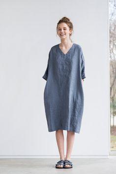 Dark grey/ graphite linen tunic/dress. Washed by notPERFECTLINEN