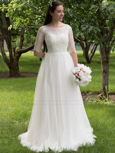 Lace wedding dress with elbow sleeves tulle by ELDesignStudio