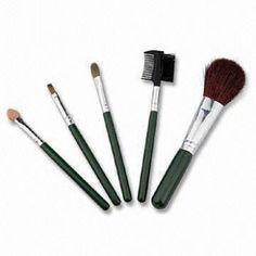 Black Goat Hair Makeup Brush Set with Plastic Handle