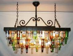 beer bottle chandelier! great for over the pool table