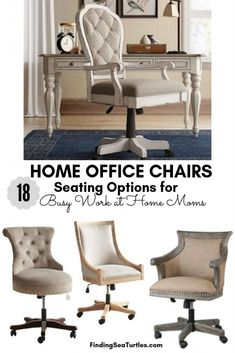 18 Modern Farmhouse Office Chairs for Your Workspace - Finding Sea Turtles Farmhouse Office Chairs, Home Office Chairs, Home Office Decor, Home Decor, Office Ideas, Office Workspace, Shabby Chic Office Chair, Interior Office, Office Spaces