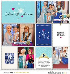 Disney's Elsa and Anna Meet and Greet Project LIfe layout featuring Project Mouse: Ice by Britt-ish Designs and Sahlin Studio Frozen Scrapbook, Disney Scrapbook Pages, Pocket Scrapbooking, Scrapbook Templates, Scrapbook Designs, Scrapbook Sketches, Scrapbooking Ideas, Scrapbook Layouts, Project Life Scrapbook