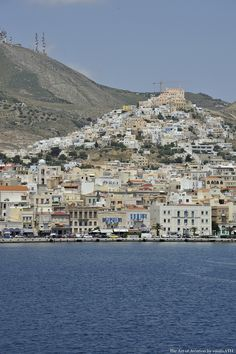 Ermoupolis Syros. Taking pictures of Ermoupolis from the port