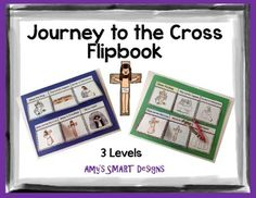 Jesus' journey to the cross is sequenced in six flipchart boxes.  Included color and black/white versions.This project includes three different levels so that it can be expanded through multi-age.  Level one: children glue the appropriate readings under the correct flipbook flap. $