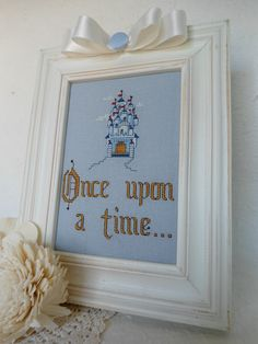 Framed Once Upon a Time cross stitch and castle design