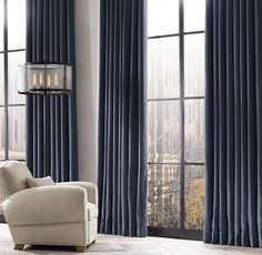 RH& Brushed Cotton Twill Drapery:Tailored from pure cotton twill and brushed for a velvet-like feel, our fabric offers a classic, casual look and limitless versatility. House, Custom Drapes, Home Hardware, Home, House Windows, Vintage Home Decor, Brushed Cotton, Curtains, Drapes And Blinds