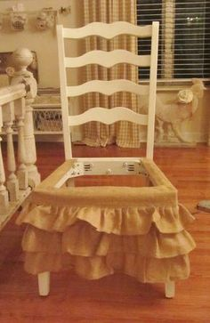 Love this idea of using a burlap valance to skirt a chair ~ would also be a great idea for a plain wooden stool to give it cottage flair ~ from Junk Chic Cottage