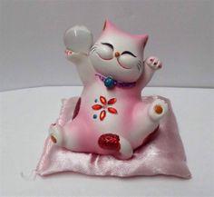 "New 3.75"" Maneki Neko Lucky Cat Cutie Jewel Cat Figure w/ Pillow pink"