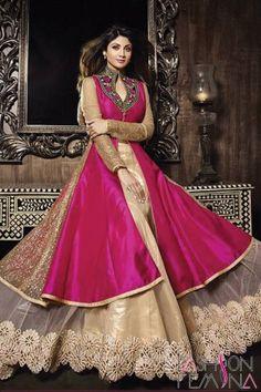 Dark Pink and Beige Art Silk Designer Salwar Kameez  #suit #salwar suit, #anarkali salwar suit, #party wear suit, #latest collection #heavy salwar suit, #online shopping party wear suit, #wedding Collection #fresh arrival