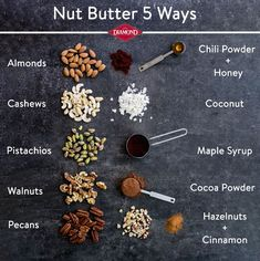 Nut Butter 5 Ways - Diamond Nuts Vegan Recipes, Cooking Recipes, Pistachio, Superfoods, 5 Ways, Pecan, Cocoa, Peanut Butter, Breakfast Recipes