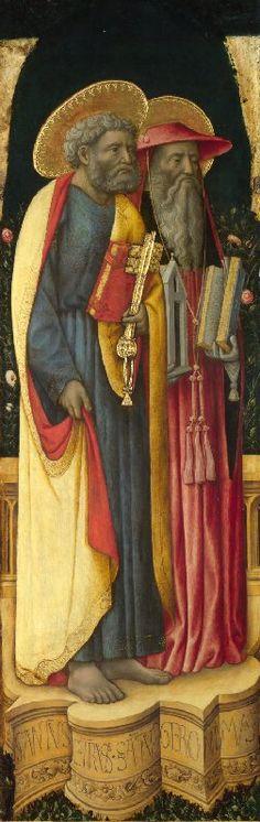 Antonio Vivarini e Giovanni d'Alemagna - Santi Pietro e Girolamo - circa 1440-1446 - National Gallery, London