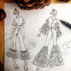 Fashion Design Drawing Related image Dress Design Sketches, Fashion Design Drawings, Fashion Sketches, Dress Designs, Illustration Tutorial, Illustration Mode, Design Illustrations, Fashion Illustrations, Fashion Drawing Dresses