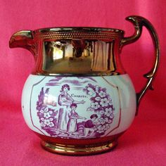 Antique Copper Lustre jug, charity design in pink,woman with children. c. 1890