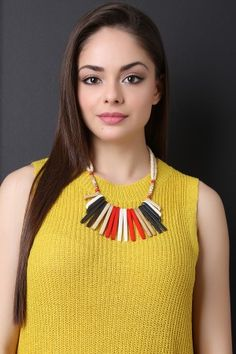 Natural Bars And Beads Statement Necklace