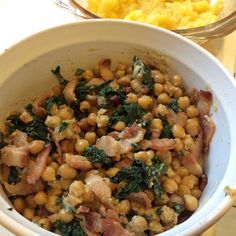 Stinging nettle chickpea salad with bacon