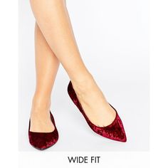 ASOS LACEY Wide Fit Pointed Ballet Flats (£10) ❤ liked on Polyvore featuring shoes, flats, red, wide flats, ballet flat shoes, red shoes, red pointed flats and red pointy flats