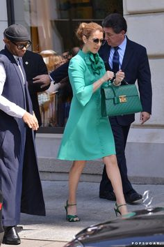 Pin for Later: Can You Guess Hollywood's Favorite Label of the Year? Celine Dion This sophisticated sea green ensemble is one of the many colorful looks Celine's worn this year.