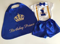 Elite Little Prince Personalised Boys Birthday Outfit.Baby Boy First Birthday Outfit. First Birthday Outfits Boy, 1st Boy Birthday, 1st Birthday Parties, Birthday Cake, Birthday Ideas, Prince Birthday Party, Prince Party, Baby Prince, Deco Buffet
