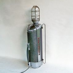 """1940s Electrolux Vacuum Cleaner Upcycled Lamp """"Industrial Rocket Chrome Splendor"""" Lampe Industrial, Industrial Living, Modern Industrial, Industrial Design, Man Cave Office, Electrolux Vacuum, Car Lights, Christmas Lights, A Table"""