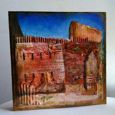 Collage mix media sobre fusta. Les avançades de S.Joan - Muralles