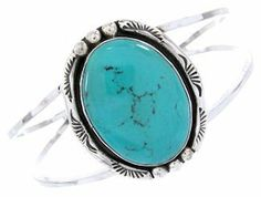 """Native American Jewelry Turquoise Silver Cuff Bracelet YS65640 SilverTribe. $119.99. MEASUREMENTS: The inner bracelet circumference measures approximately 5-3/8"""", plus a 1-1/2"""" opening, and 1-1/2"""" at widest point.. MATERIALS: Sterling Silver and Turquoise.. Southwestern Jewelry. Native American Jewelry Turquoise Silver Cuff Bracelet YS65640"""