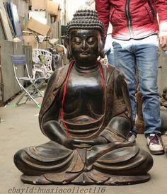 """44"""" China Buddhism Wood Hand-Carved Tathagata Sakyamuni Shakyamuni Buddha Statue"""
