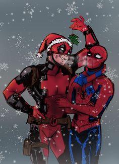 Art dump — Happy holidays and Merry Christmas! Thor X Loki, Spideypool Comic, Superfamily, Wattpad, Deadpool Christmas, Spaider Man, Kraven The Hunter, Deadpool X Spiderman, Deadpool Wallpaper