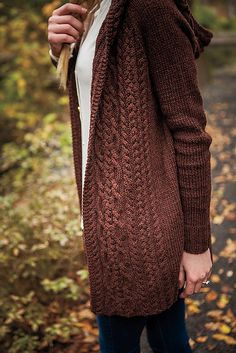 Cabled hooded jacket Ravelry: Dubline Cardigan pattern by Marousa Gallagher