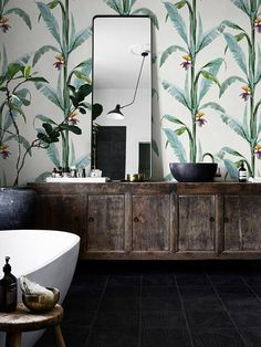 Removable wallpaper Tropical Shurbs Wallpaper Wall mural