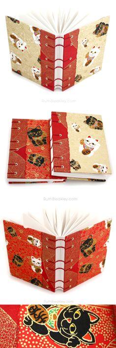 Lucky Cat Journals handmade by Ruth Bleakley - also called Maneki Neko in Japanese 招き猫