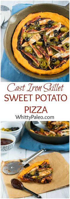 Paleo Cast Iron Skillet Sweet Potato Pizza - completely grain and dairy free, this pizza has a chewy base with a crunchy crust and is topped with cajun chicken and homemade paleo bbq sauce