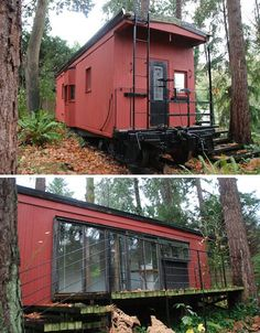 Second, slightly modified back door and deck. One caboose and two train cars. The square footage might just work. converted caboose home on Mercer Island, Washington has 260 sq ft of living space Tyni House, Tiny House Living, Eco Casas, Architecture Design, Haus Am See, Unusual Homes, Tiny Spaces, Loft Spaces, Cabins And Cottages
